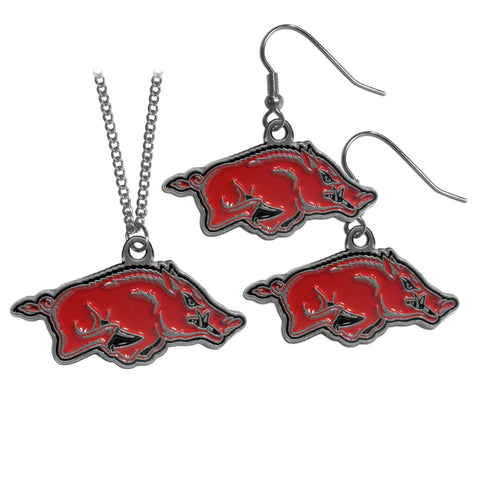 Arkansas Razorbacks Dangle Earrings and Chain Necklace Set