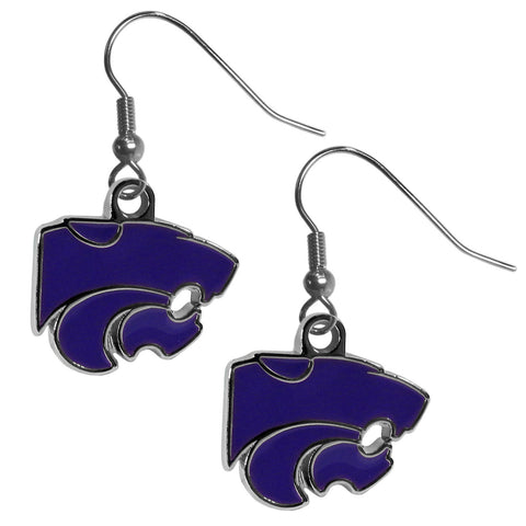 Kansas St. Wildcats Chrome Dangle Earrings