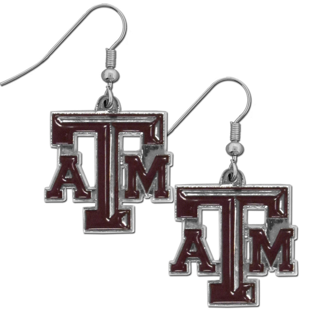 Texas A & M Aggies Chrome Dangle Earrings - CDE26N