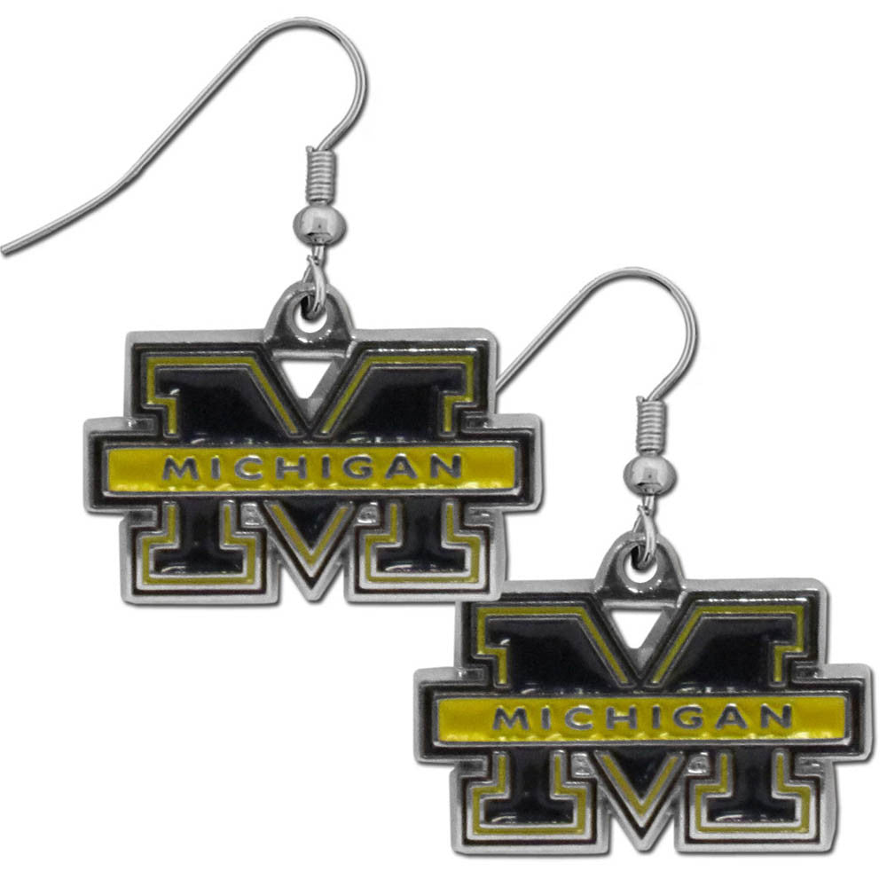 Michigan Wolverines Chrome Dangle Earrings - CDE36N