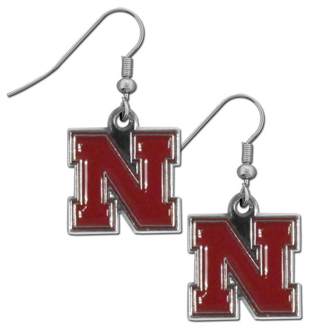 Nebraska Cornhuskers Chrome Dangle Earrings