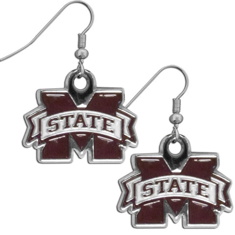 Mississippi St. Bulldogs Chrome Dangle Earrings