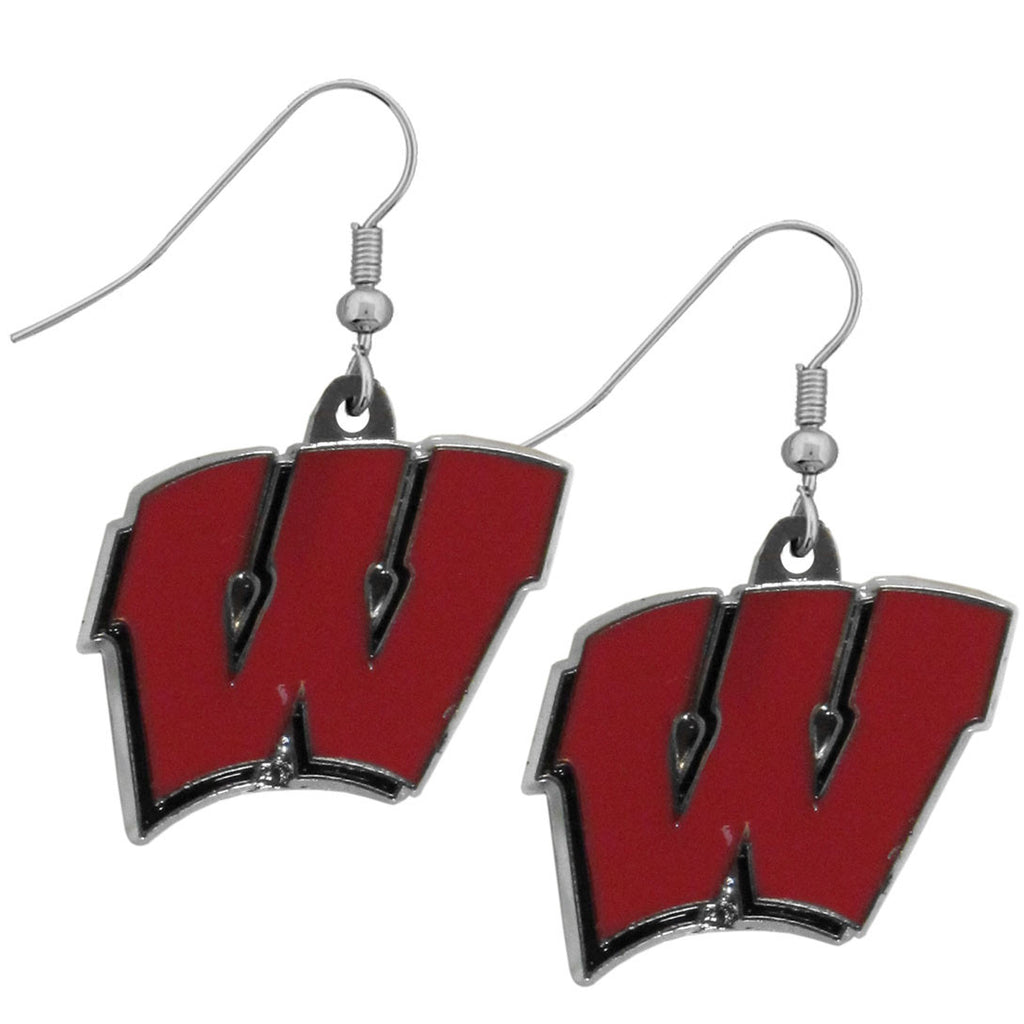 Wisconsin Badgers Chrome Dangle Earrings - CDE51N