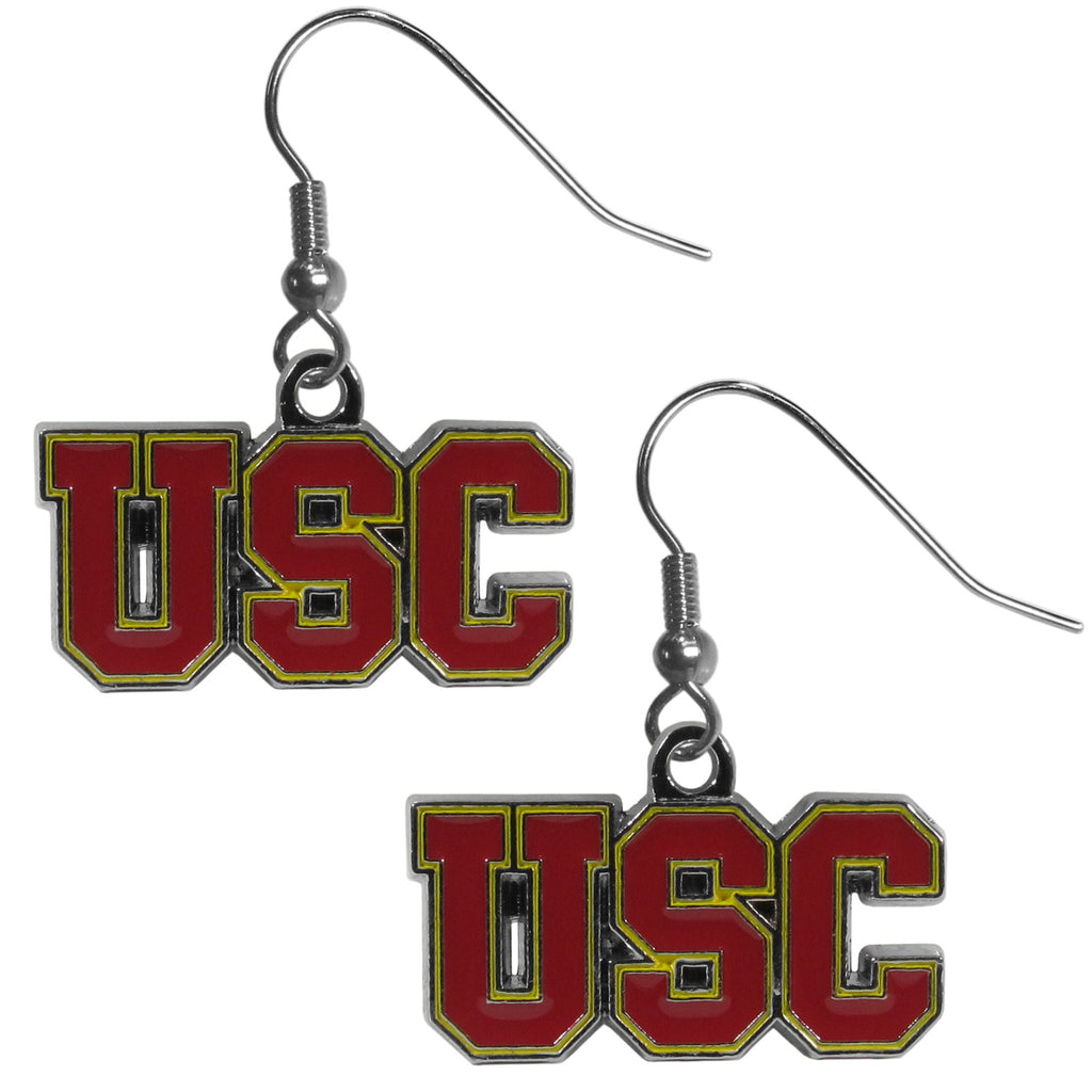 USC Trojans Chrome Dangle Earrings - CDE53N