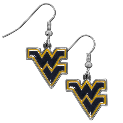 W. Virginia Mountaineers Chrome Dangle Earrings