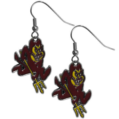 Arizona St. Sun Devils Chrome Dangle Earrings - CDE68N