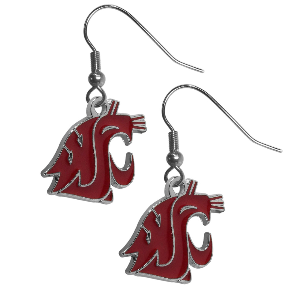 Washington St. Cougars Chrome Dangle Earrings