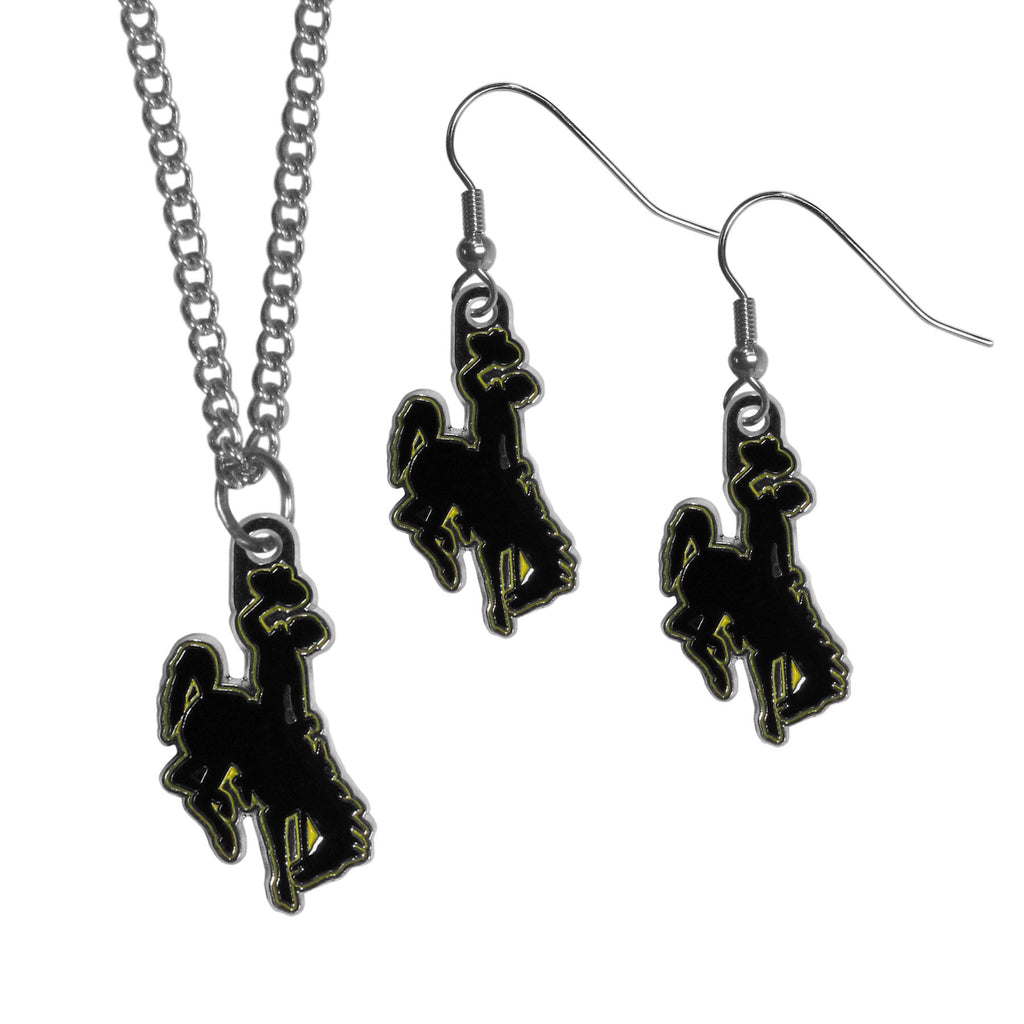 Wyoming Cowboy Dangle Earrings and Chain Necklace Set