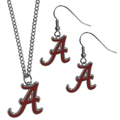 Alabama Crimson Tide Dangle Earrings and Chain Necklace Set-1
