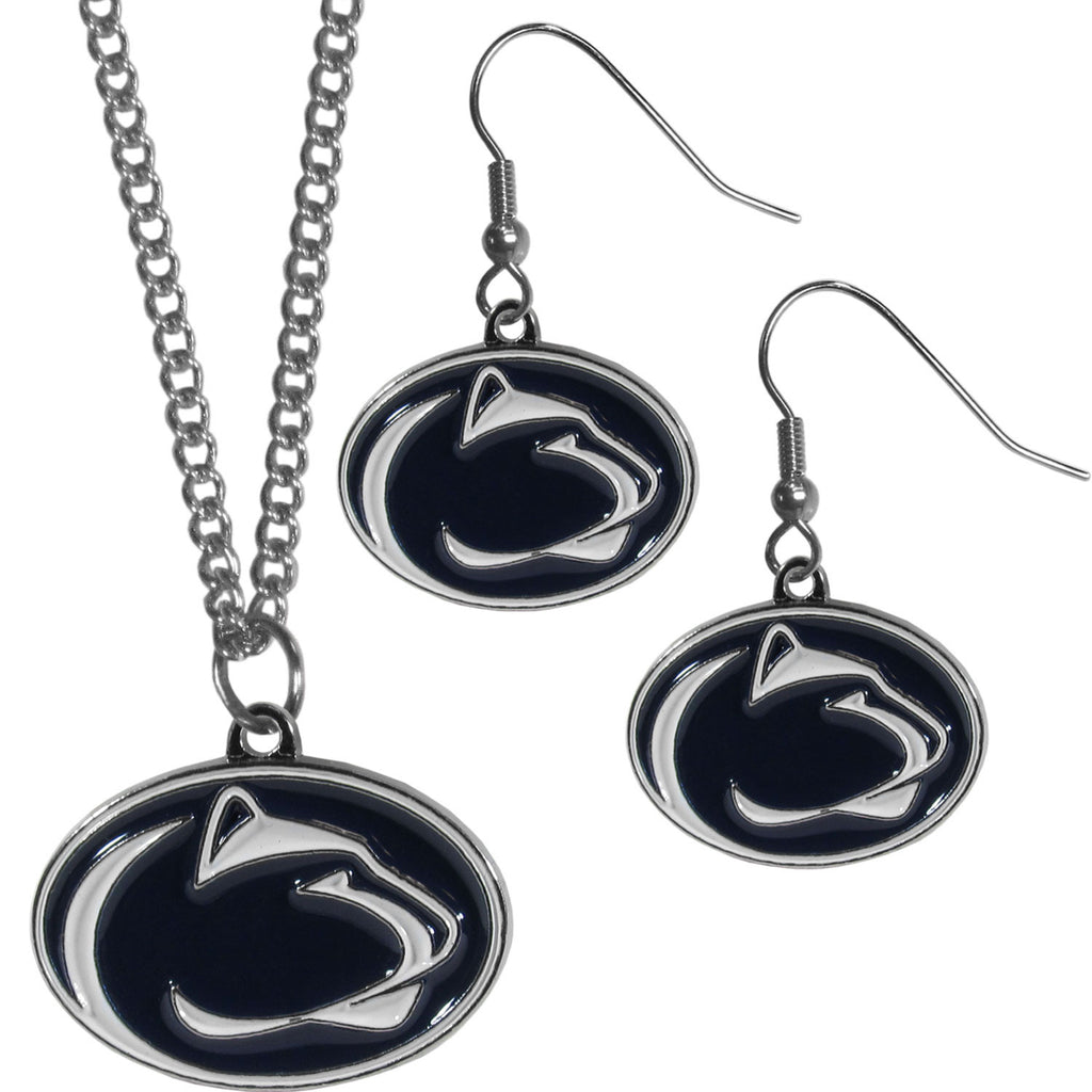 Penn St. Nittany Lions Dangle Earrings and Chain Necklace Set