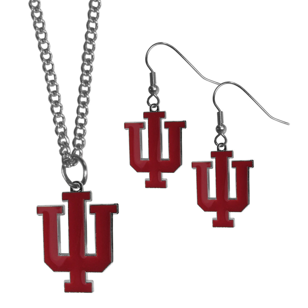 Indiana Hoosiers Dangle Earrings and Chain Necklace Set