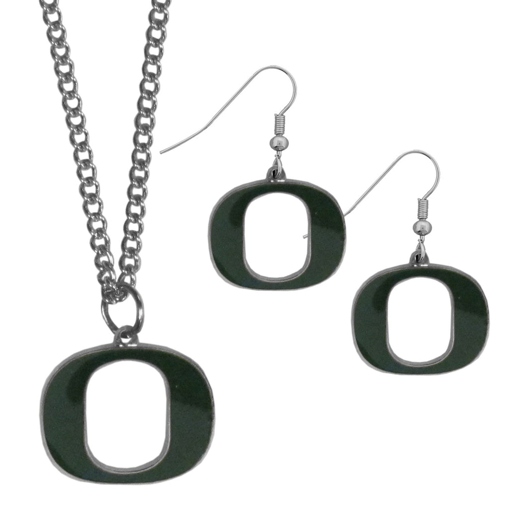 Oregon Ducks Dangle Earrings and Chain Necklace Set