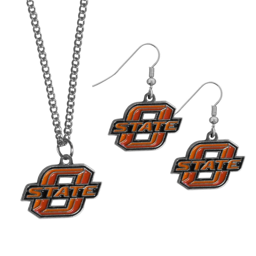Oklahoma St. Cowboys Dangle Earrings and Chain Necklace Set