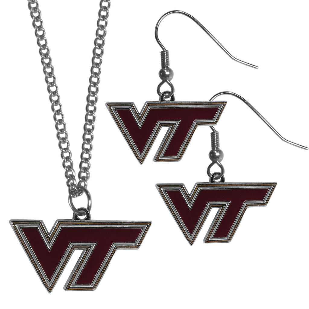 Virginia Tech Hokies Dangle Earrings and Chain Necklace Set