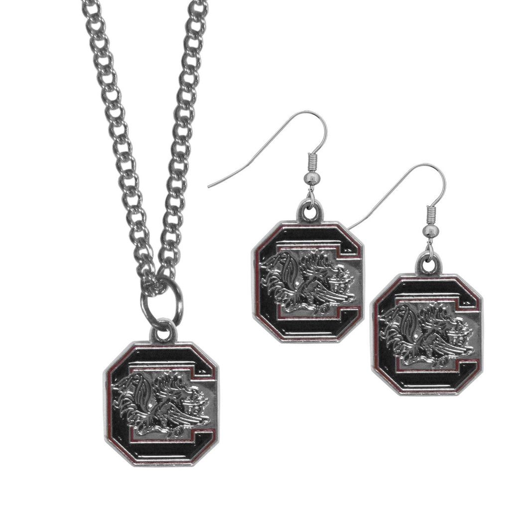 S. Carolina Gamecocks Dangle Earrings and Chain Necklace Set