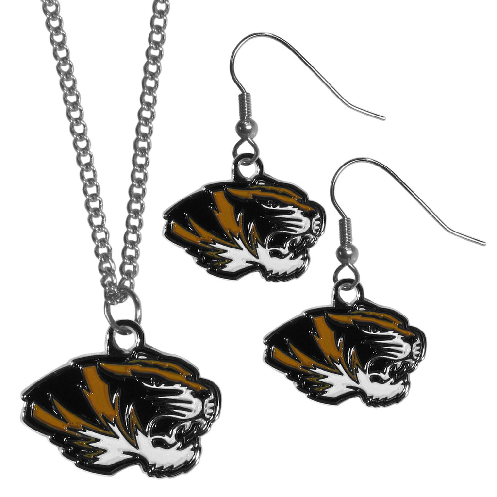 Missouri Tigers Dangle Earrings and Chain Necklace Set