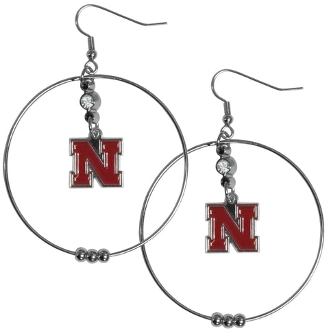 Nebraska Cornhuskers 2 Inch Hoop Earrings