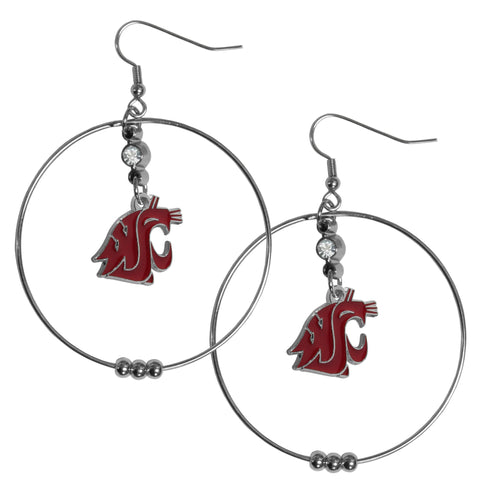 Washington St. Cougars 2 Inch Hoop Earrings