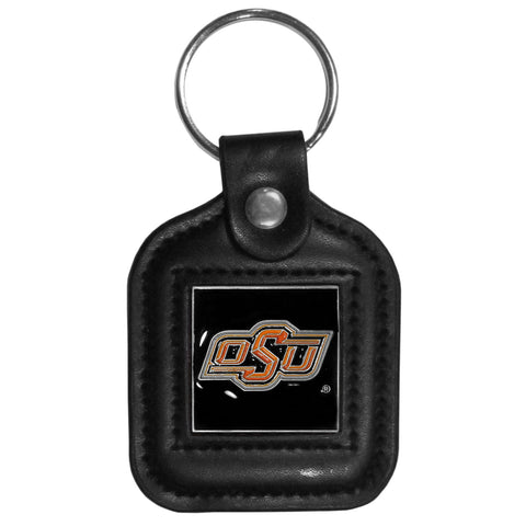 Oklahoma St. Cowboys Square Leatherette Key Chain