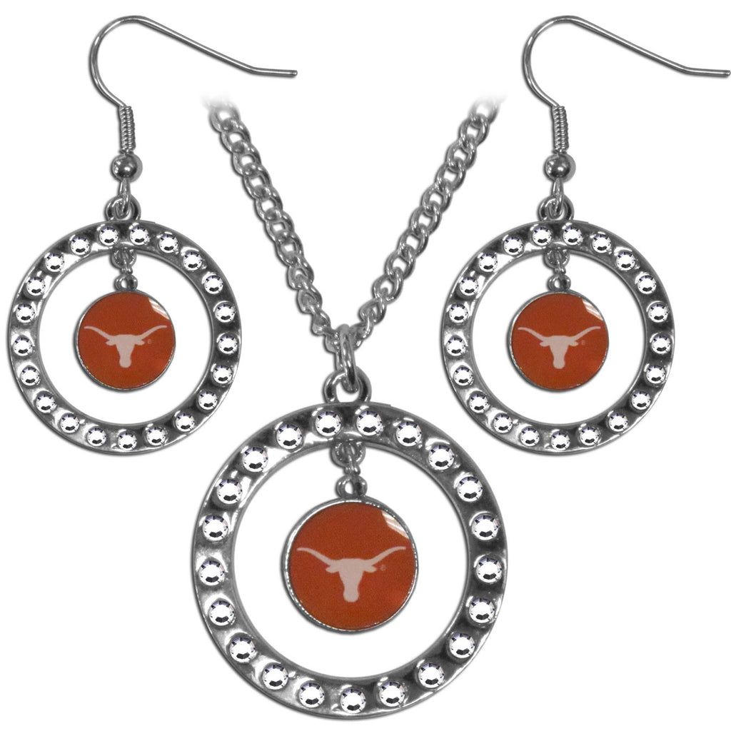 Texas Longhorns Rhinestone Hoop Jewelry Set