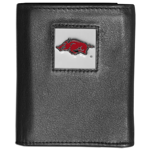 Arkansas Razorbacks Deluxe Leather Tri-fold Wallet Packaged in Gift Box