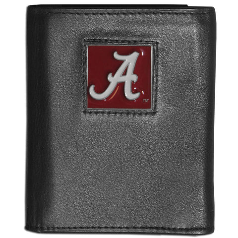 Alabama Crimson Tide Deluxe Leather Tri-fold Wallet Packaged in Gift Box