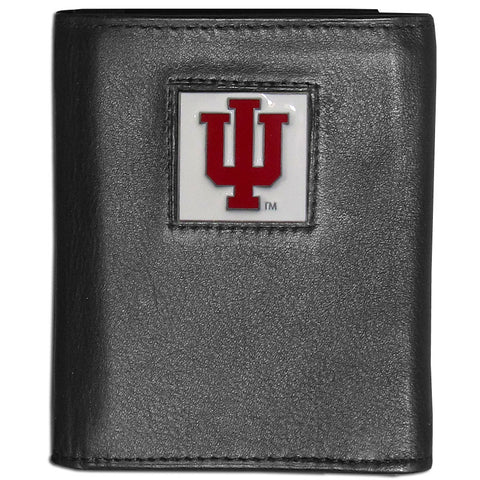 Indiana Hoosiers Deluxe Leather Tri-fold Wallet Packaged in Gift Box
