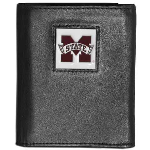 Mississippi St. Bulldogs Deluxe Leather Tri-fold Wallet