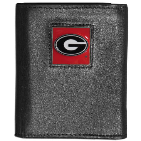 Georgia Bulldogs Deluxe Leather Tri-fold Wallet Packaged in Gift Box
