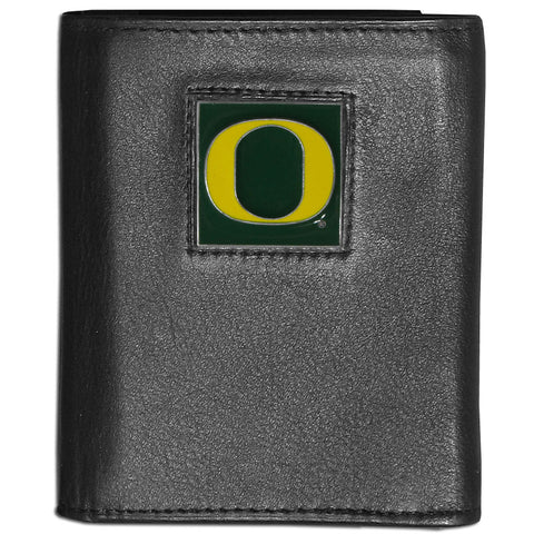 Oregon Ducks Deluxe Leather Tri-fold Wallet Packaged in Gift Box