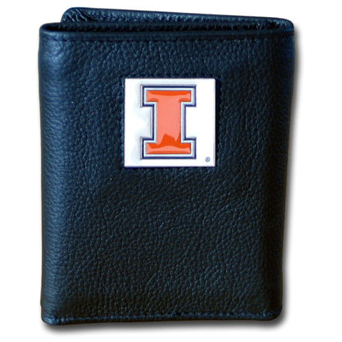 Illinois Fighting Illini Deluxe Leather Tri-fold Wallet Packaged in Gift Box
