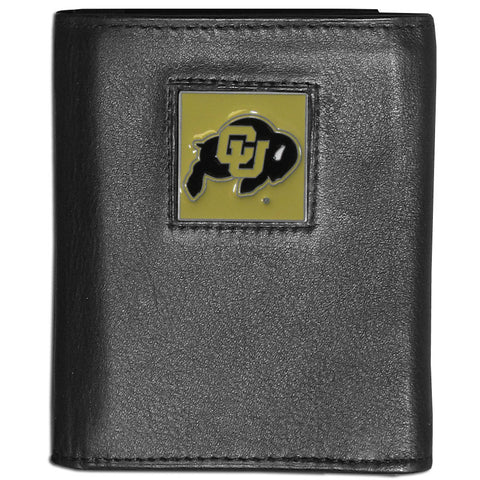 Colorado Buffaloes Deluxe Leather Tri-fold Wallet Packaged in Gift Box