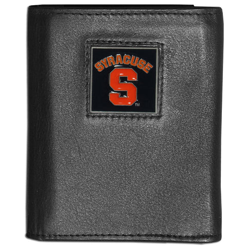 Syracuse Orange Deluxe Leather Tri-fold Wallet Packaged in Gift Box