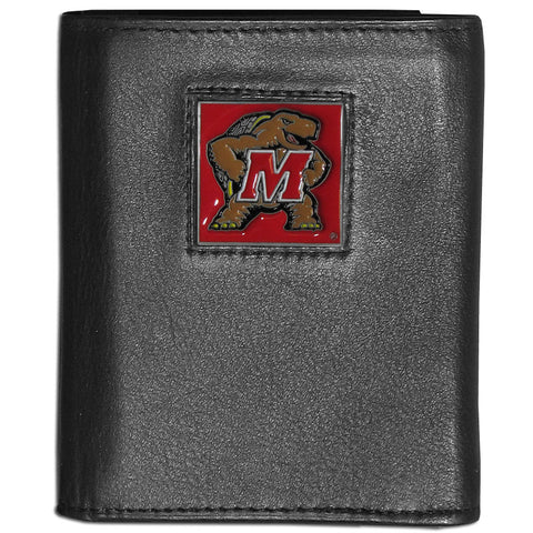 Maryland Terrapins Deluxe Leather Tri-fold Wallet Packaged in Gift Box