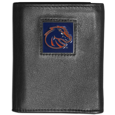 Boise St. Broncos Deluxe Leather Tri-fold Wallet Packaged in Gift Box