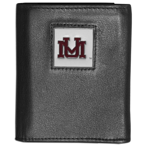 Montana Grizzlies Deluxe Leather Tri-fold Wallet Packaged in Gift Box