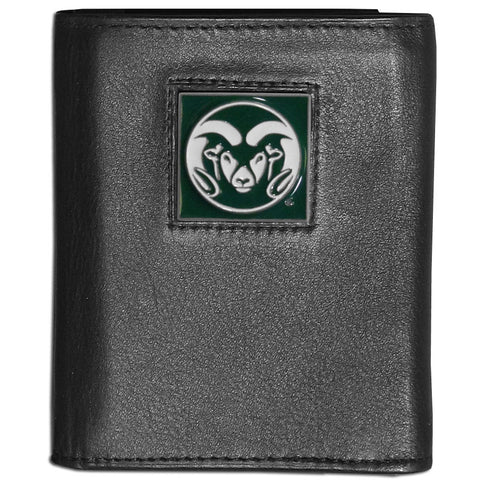 Colorado St. Rams Deluxe Leather Tri-fold Wallet Packaged in Gift Box