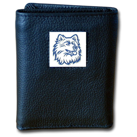 UCONN Huskies Deluxe Leather Tri-fold Wallet