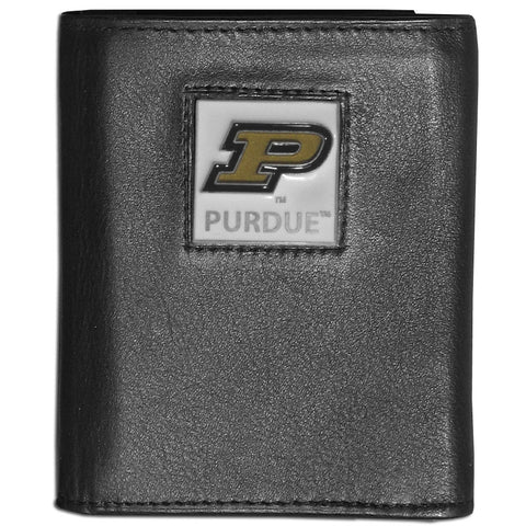 Purdue Boilermakers Deluxe Leather Tri-fold Wallet Packaged in Gift Box