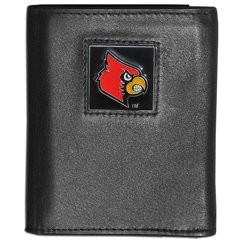 Louisville Cardinals Deluxe Leather Tri-fold Wallet Packaged in Gift Box
