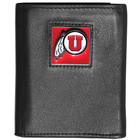 Utah Utes Deluxe Leather Tri-fold Wallet Packaged in Gift Box