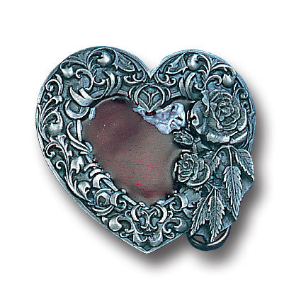 Western Heart/Rose  Enameled Belt Buckle