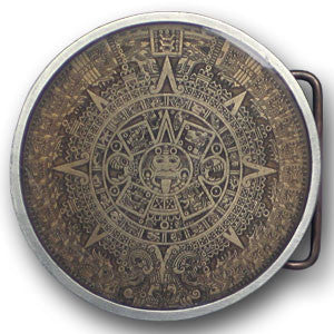 Aztec Calendar - Brown  Enameled Belt Buckle