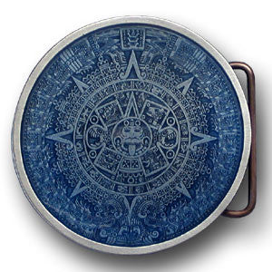 Aztec Calendar - Blue Enameled Belt Buckle