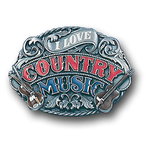 I Love Country Music Enameled Belt Buckle
