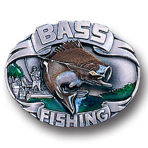 Bass Fishing 3D  Enameled Belt Buckle