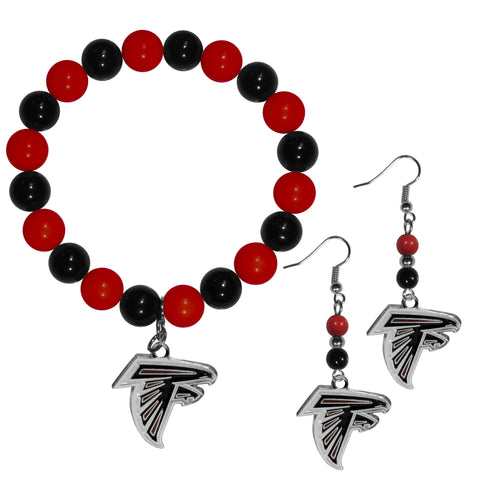 Atlanta Falcons Fan Bead Earrings and Bracelet Set