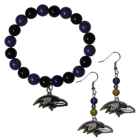 Baltimore Ravens Fan Bead Earrings and Bracelet Set