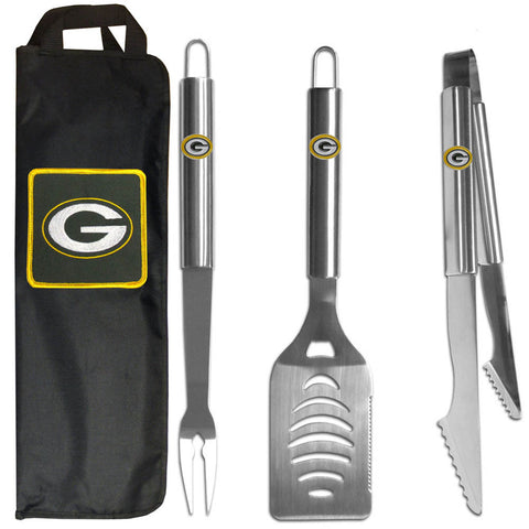 Green Bay Packers 3 pc Stainless Steel BBQ Set with Bag