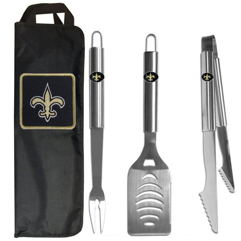 New Orleans Saints 3 pc Stainless Steel BBQ Set with Bag